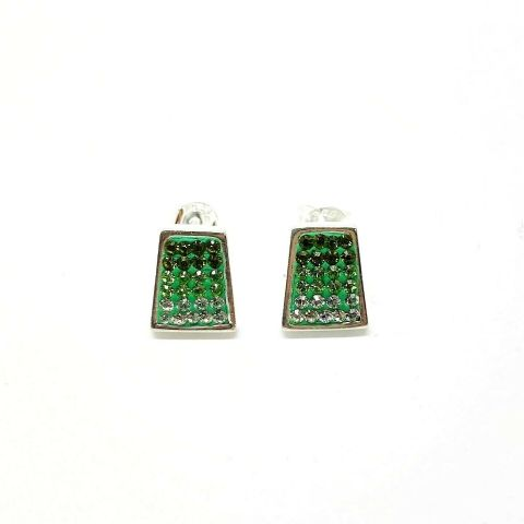 Genuine 925 Sterling Silver Stud Earrings W/ Fading Crystals Av. In Dif Colours